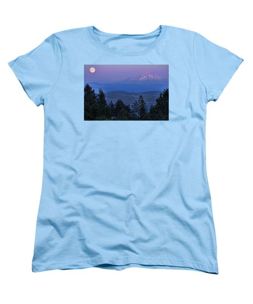 The Moon Beside Mt. Hood Women's T-Shirt (Standard Cut)