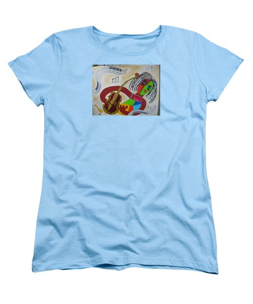 Women's T-Shirt (Standard Cut) featuring the painting The Music Practitioner by Sharyn Winters