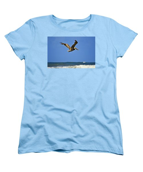 Women's T-Shirt (Standard Cut) featuring the photograph The Pelican And The Sea by DigiArt Diaries by Vicky B Fuller