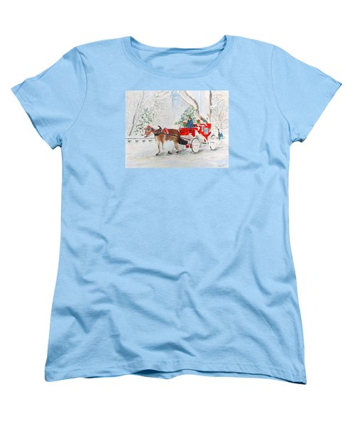 Women's T-Shirt (Standard Cut) featuring the painting The Quiet Ride by Beth Saffer