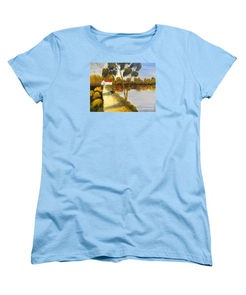 Women's T-Shirt (Standard Cut) featuring the painting The Riverhouse by Pamela  Meredith