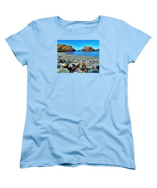 Glass Beach In Cali Women's T-Shirt (Standard Cut) by Catherine Lott