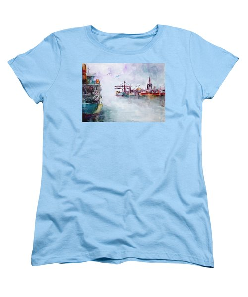 Women's T-Shirt (Standard Cut) featuring the painting The Ship At Harbor Entrance by Faruk Koksal