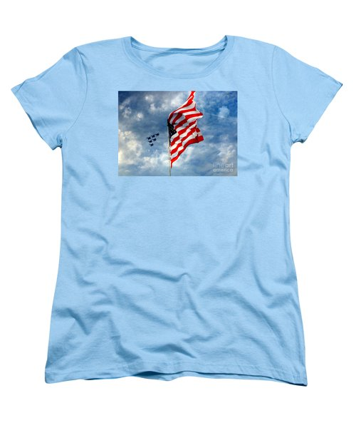The Star Spangled Banner Yet Waves Women's T-Shirt (Standard Cut) by Lydia Holly