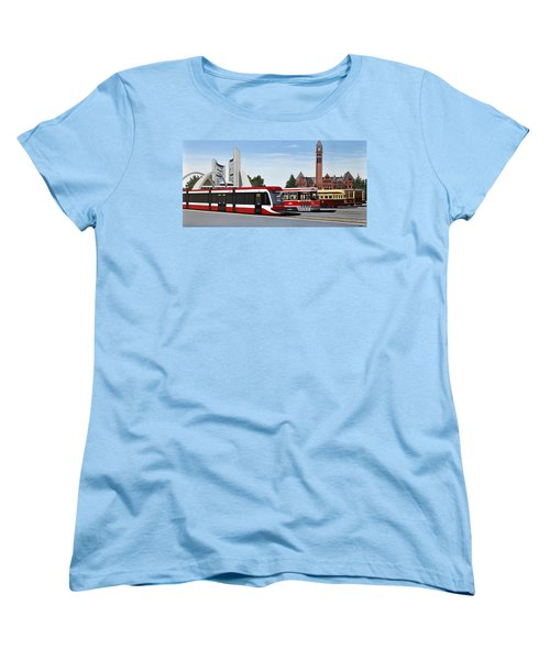 Women's T-Shirt (Standard Cut) featuring the painting The Toronto Streetcar 100 Years by Kenneth M  Kirsch