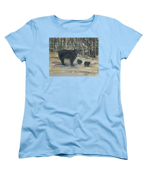 Women's T-Shirt (Standard Cut) featuring the painting Cubs - Bears - Goldilocks And The Three Bears by Jan Dappen