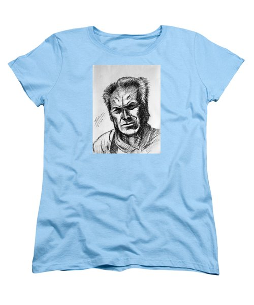 Women's T-Shirt (Standard Cut) featuring the painting Clint Eastwood by Salman Ravish
