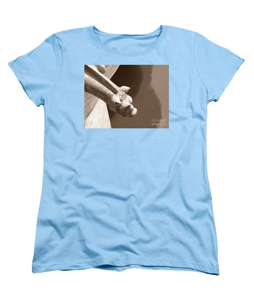 Women's T-Shirt (Standard Cut) featuring the photograph Thirsty Gargoyle - Sepia by HEVi FineArt