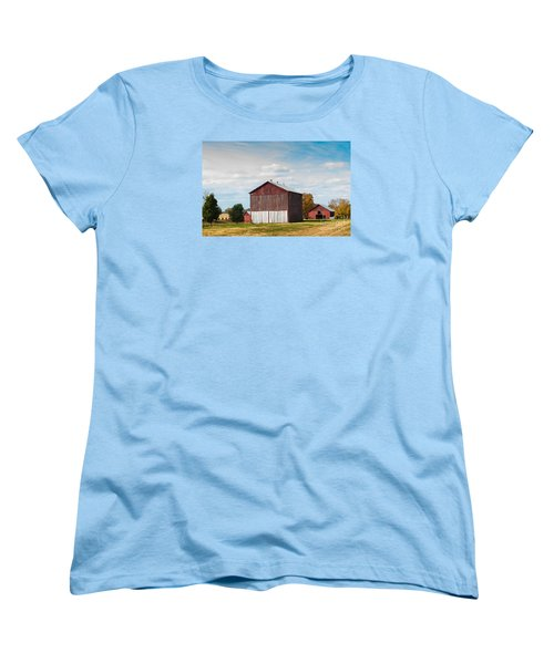 Women's T-Shirt (Standard Cut) featuring the photograph Three In One Barns by Debbie Green