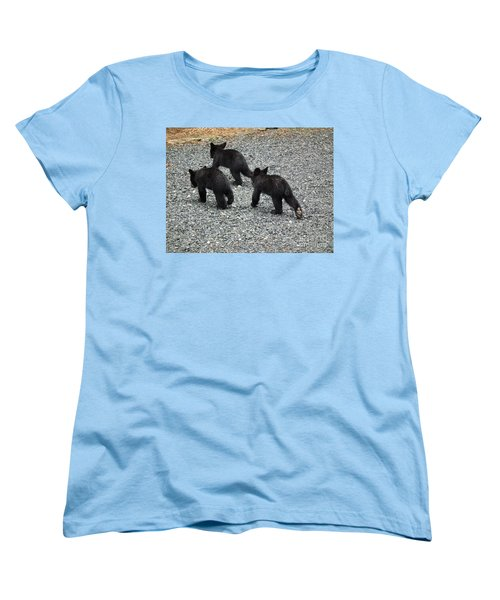 Women's T-Shirt (Standard Cut) featuring the photograph Three Little Bears In Step by Jan Dappen