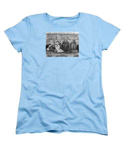 Three Little Shih Tzus Women's T-Shirt (Standard Cut) by Lena Auxier