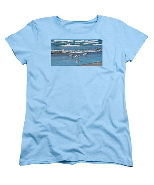 Women's T-Shirt (Standard Cut) featuring the photograph Three Seagulls At Ocean Shore Art Prints by Valerie Garner