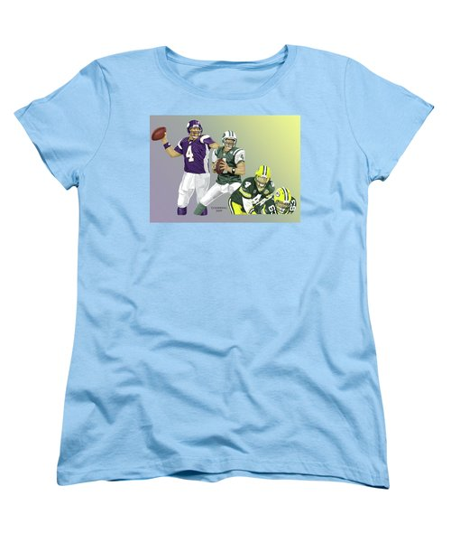 Women's T-Shirt (Standard Cut) featuring the digital art Three Stages Of Bret Favre by Thomas J Herring