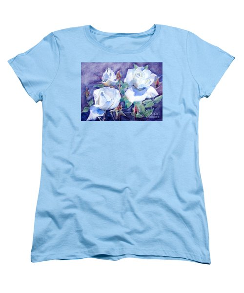 Women's T-Shirt (Standard Cut) featuring the painting White Roses With Red Buds On Blue Field by Greta Corens