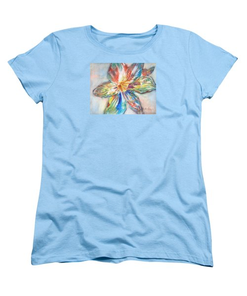 Women's T-Shirt (Standard Cut) featuring the painting Tiger Lilly by Mary Haley-Rocks