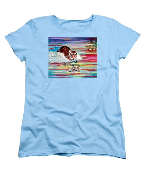 Women's T-Shirt (Standard Cut) featuring the painting Tigers Crossing by Phyllis Kaltenbach
