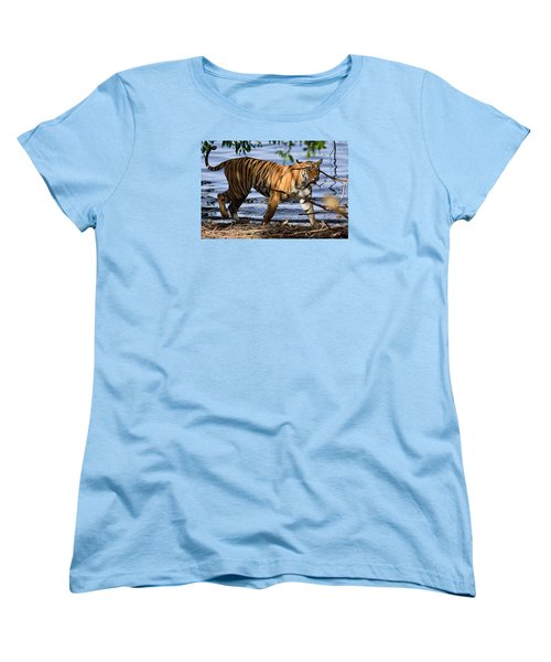 Tigress Along The Banks Women's T-Shirt (Standard Cut) by Fotosas Photography