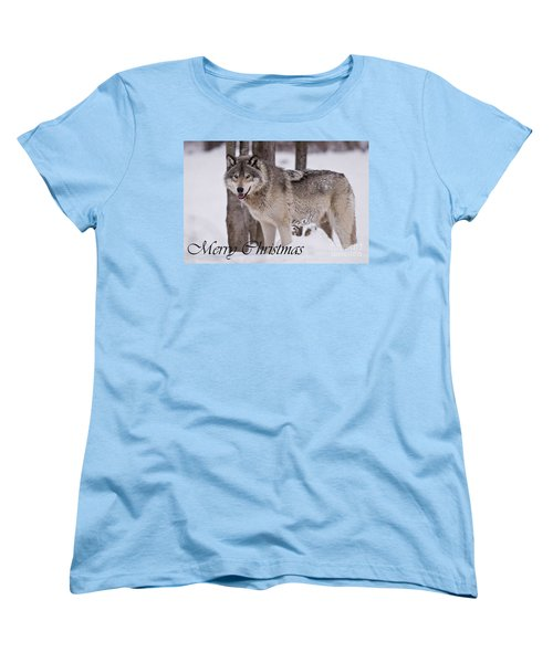 Timber Wolf Christmas Card English 3 Women's T-Shirt (Standard Cut) by Wolves Only
