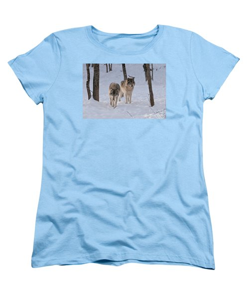Women's T-Shirt (Standard Cut) featuring the photograph Timber Wolf Pair  by Wolves Only