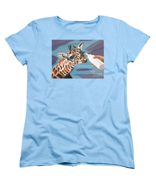 Tiny Baby Giraffe With Bottle Women's T-Shirt (Standard Cut) by Phyllis Kaltenbach
