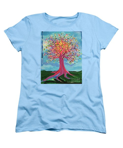 Women's T-Shirt (Standard Cut) featuring the painting Tori's Tree By Jrr by First Star Art