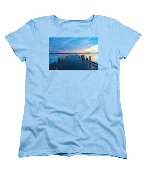 Toronto Pier During A Winter Sunset Women's T-Shirt (Standard Cut) by Nina Silver