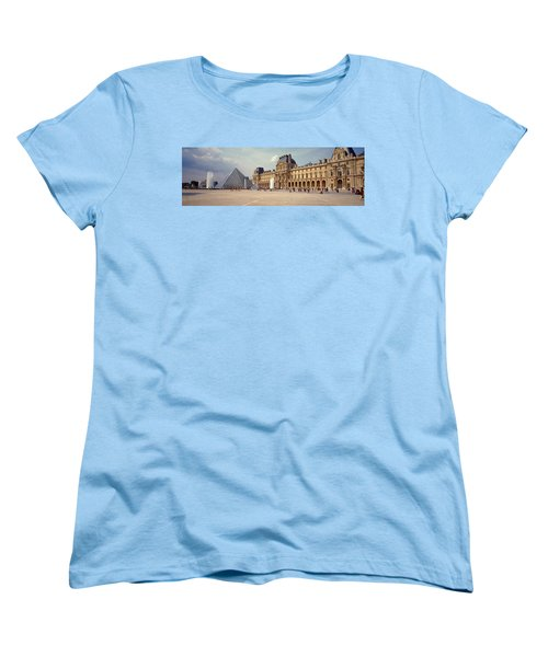 Tourists Near A Pyramid, Louvre Women's T-Shirt (Standard Cut) by Panoramic Images