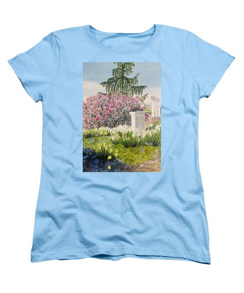 Women's T-Shirt (Standard Cut) featuring the painting Tower Hill Center by Carol Flagg