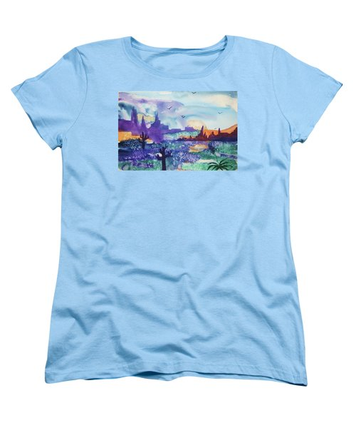 Women's T-Shirt (Standard Cut) featuring the painting Tranquility II by Ellen Levinson