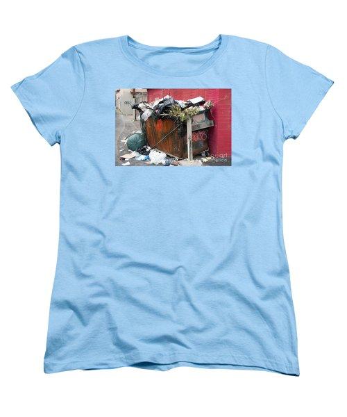 Women's T-Shirt (Standard Cut) featuring the photograph Trash Dumpster In Slums by Gunter Nezhoda