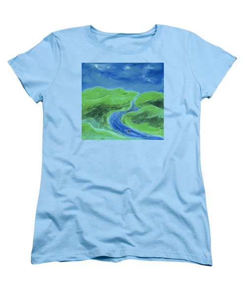 Women's T-Shirt (Standard Cut) featuring the painting Travelers Upstream By Jrr by First Star Art
