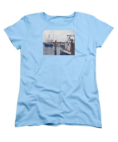 Trawlers At Gosman's Dock Montauk Women's T-Shirt (Standard Cut) by Barbara Barber