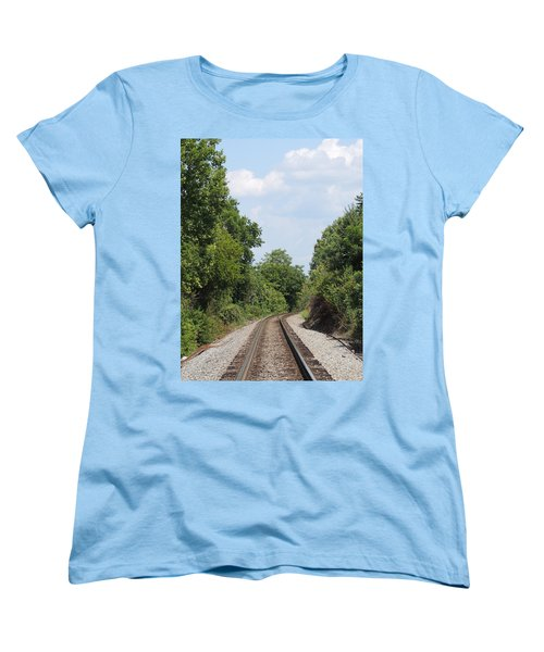 Women's T-Shirt (Standard Cut) featuring the photograph Traxs To Anywhere by Aaron Martens