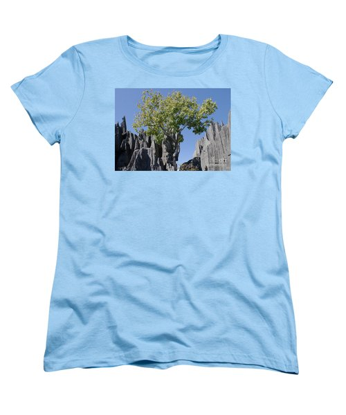 Women's T-Shirt (Standard Cut) featuring the photograph Tree In The Tsingy De Bemaraha Madagascar by Rudi Prott