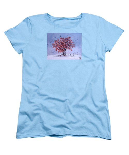 Women's T-Shirt (Standard Cut) featuring the painting Tree Of Life by Nina Mitkova