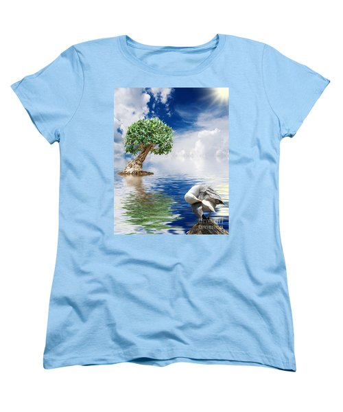 Tree Seagull And Sea Women's T-Shirt (Standard Cut) by Antonio Scarpi
