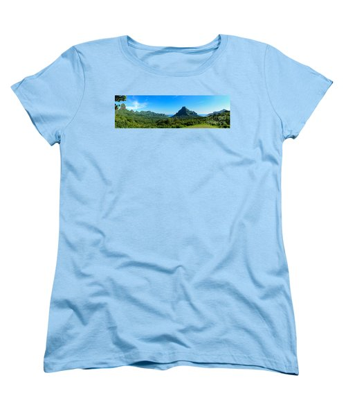 Tropical Moorea Panorama Women's T-Shirt (Standard Cut) by IPics Photography