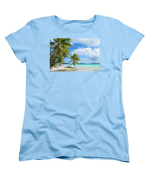 Tropical Beach With Hanging Palm Trees In The Pacific Women's T-Shirt (Standard Cut) by IPics Photography