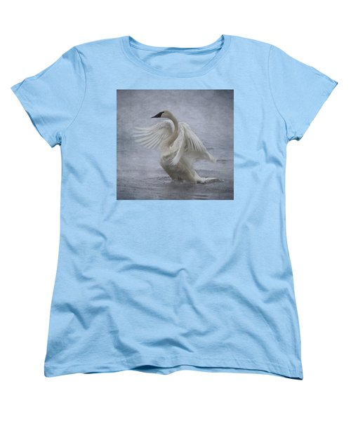Women's T-Shirt (Standard Cut) featuring the photograph Trumpeter Swan - Misty Display by Patti Deters