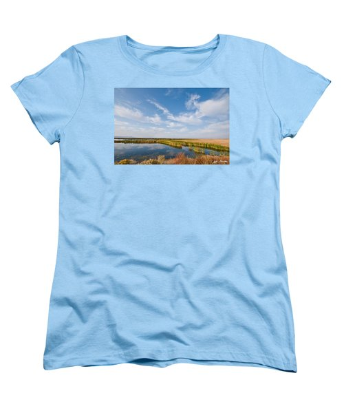 Women's T-Shirt (Standard Cut) featuring the photograph Tule Lake Marshland by Jeff Goulden
