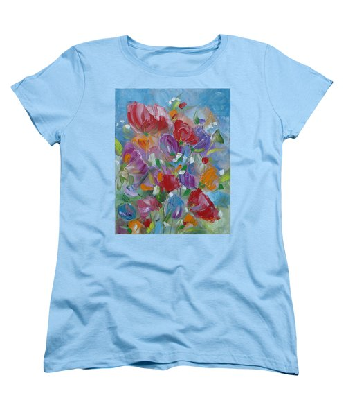 Women's T-Shirt (Standard Cut) featuring the painting Tulip Symphony by Judith Rhue