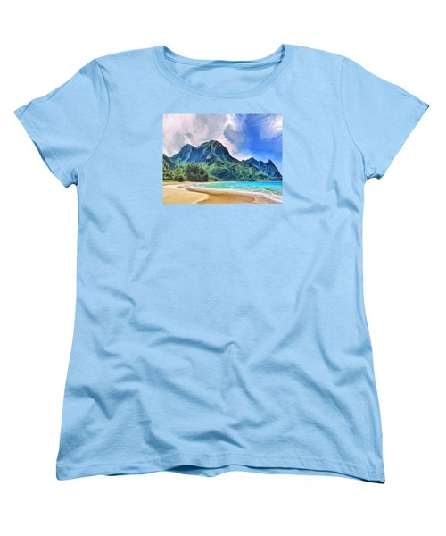 Tunnels Beach Kauai Women's T-Shirt (Standard Cut) by Dominic Piperata