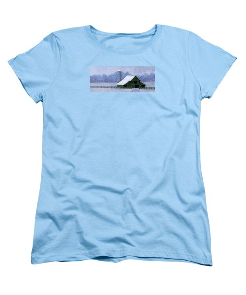 Women's T-Shirt (Standard Cut) featuring the painting Turner Barn In Brentwood by Janet King