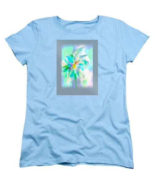 Women's T-Shirt (Standard Cut) featuring the digital art Turquoise Bloom by Frank Bright