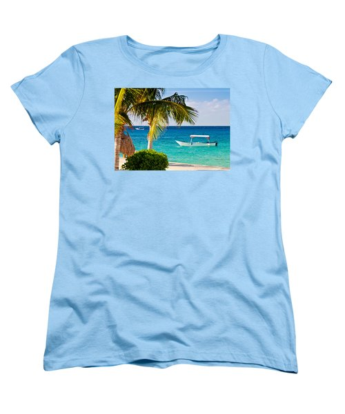 Women's T-Shirt (Standard Cut) featuring the photograph Turquoise Waters In Cozumel by Mitchell R Grosky