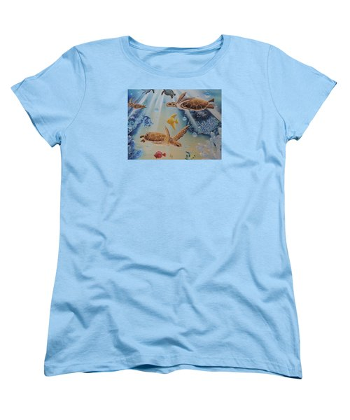 Turtles At Sea #2 Women's T-Shirt (Standard Cut) by Dianna Lewis