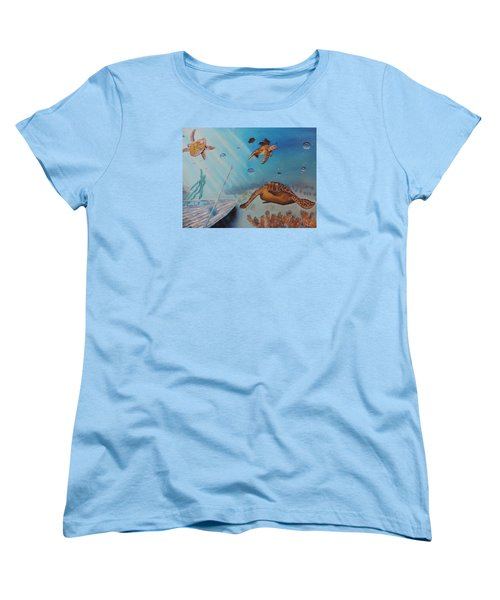 Turtles At Sea Women's T-Shirt (Standard Cut) by Dianna Lewis
