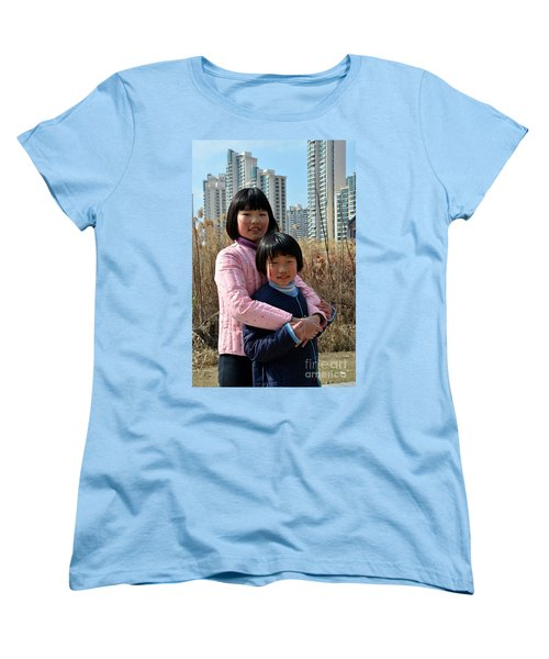Two Chinese Teen Sisters Hug  And Embrace Shanghai China Women's T-Shirt (Standard Cut) by Imran Ahmed