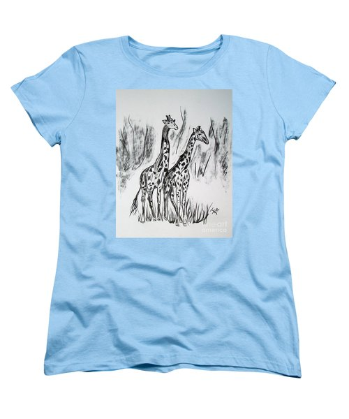 Women's T-Shirt (Standard Cut) featuring the drawing Two Giraffe's In Graphite by Janice Rae Pariza