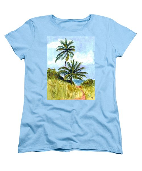 Two Palms Women's T-Shirt (Standard Cut) by Clara Sue Beym